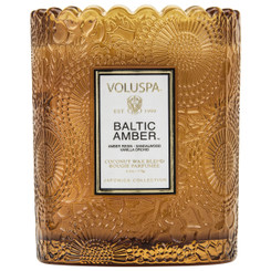 Scalloped Edge Embossed Candle - Baltic Amber