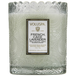 Scalloped Edge Embossed Candle - French Cade Lavender