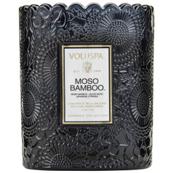 Scalloped Edge Embossed Candle - Moso Bamboo