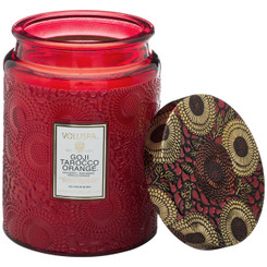 Large Embossed Glass Jar Candle - Goji Tarocco Orange