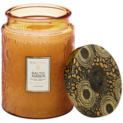 Large Embossed Glass Jar Candle - Baltic Amber