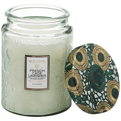 Large Embossed Glass Jar Candle - French Cade Lavender