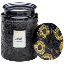 Large Embossed Glass Jar Candle - Moso Bamboo