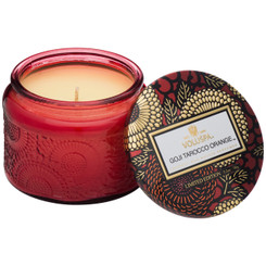 Petite Embossed Glass Jar Candle - Goji Tarocco Orange