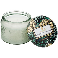 Petite Embossed Glass Jar Candle - French Cade Lavender