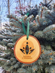 Natural Wood Ornament w/ Lotus Cut Out & TLAW Engraving