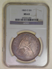 1860-O Seated Dollar PCGS or NGC graded MS63