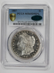 1887 Morgan Dollar, NGC or PCGS graded MS65 DMPL