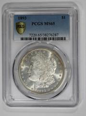 1893 Morgan Dollar, PCGS or NGC graded MS65