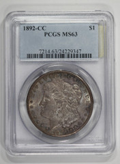 1892-CC Morgan Dollar, NGC or PCGS graded MS63