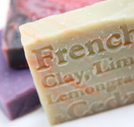 French clay contains 58% silica which is a mineral found in skin and hair, making it very soothing to skin. This soap is excellent for shaving as it helps to prevent cuts and rashes (comments from our customers). Cedarwood has a long history of use. The aromatic timber was used in building the Hanging Gardens of Babylon and the Egyptians used the resin for embalming. Today it is used to treat bronchial conditions and as a natural insecticide. Lemongrass oil was used in traditional Indian medicines to treat infections and fever. Today it is used in deodorants and skin toners. Lime oil is most beneficial for greasy skin types, helping to control acne and to refine pores.