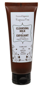 Emma Organics Double Action Cleansing Milk & Exfoliant, is a milky scrub and cleanser formulated to lift away surface impurities and makeup whilst scrubbing off accumulated surface dead skin cells, leaving the complexion clean, hydrated and smooth.  Organic Apple - an intensive cleanser Organic Cucumber - deeply soothes and tones Pumice Powder - to gently exfoliate the skin surface Organic Jojoba, Avocado Oil, and Cocoa Butter - deliver long lasting hydration and soften the skin. Solanum Lycopersicum (Tomato) Seed Oil - a powerful antioxidant to reduce free-radical oxidation  Free from parabens, sulphates, phthalates, colours, animal derived ingredients, formaldehyde causing agents. CRUELTY, PALM OIL & GLUTEN FREE  |  VEGAN & TRAVEL FRIENDLY