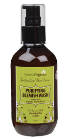 Emma Organics PURIFYING BLEMISH FACE WASH is an antibacterial foaming cleanser formulated to lift impurities, keep acne under control and leave the complexion fresh and clean.  A great balance for all skin types.  Organic White Tea - a more powerful antioxidant than green tea Organic Chamomile - deeply hydrates and softens Organic Apple extract - an intensive cleanser Organic Cucumber extract - deeply soothes and tones   Free from parabens, sulphates, colours, synthetic fragrances, phthalates and formaldehyde causing agents. CRUELTY, PALM OIL & GLUTEN FREE  |  VEGAN FRIENDLY