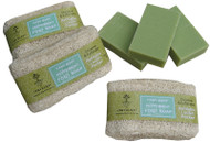 Fresh fragranced handmade peppermint soap (80g) in a refillable Loofah fibre pocket. This has to be the best thing ever invented to pamper and deodorise tired feet. Loofah fibre is produced from the fruit of a vine, thus they are a natural, biodegradable and renewable resource. For centuries they have been used for bathing products because when wet, the loofah fibre swells and becomes sponge-like, gently exfoliating while stimulating circulation.