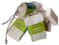 Loofah tap soap for gardeners … new refillable style Practical and fun – tea tree and eucalyptus soap in a refillable loofah pouch that can hang from the garden tap. The loofah gently and thoroughly cleans hands of garden grime.    Ingredients – Certified Sustainable Palm oil (Elaeis guineensis), certified sustainable palm kernal oil (Elaeis guineensis), certified sustainable glycerine vegetable BP (Elaeis guineensis), coconut oil, olive oil, sodium hydroxide, distilled water, rosemary extract, essential oils of eucalyptus, lemon scented eucalyptus, tea tree, bergamot, fragrance sandalwood.