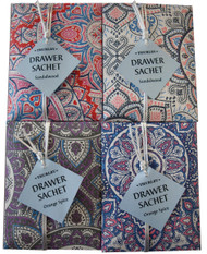Mandala Drawer Sachets is available a sandalwood fragrance. Place drawer sachets in cupboards and drawers to refresh and fragrant linen or clothing.