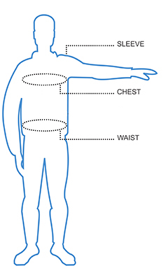 Chest, Waist, Back Length and Sleeve Size Chart