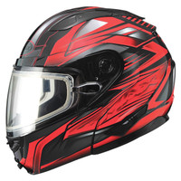 Gmax GM64S Snow Modular Helmet Black/Red