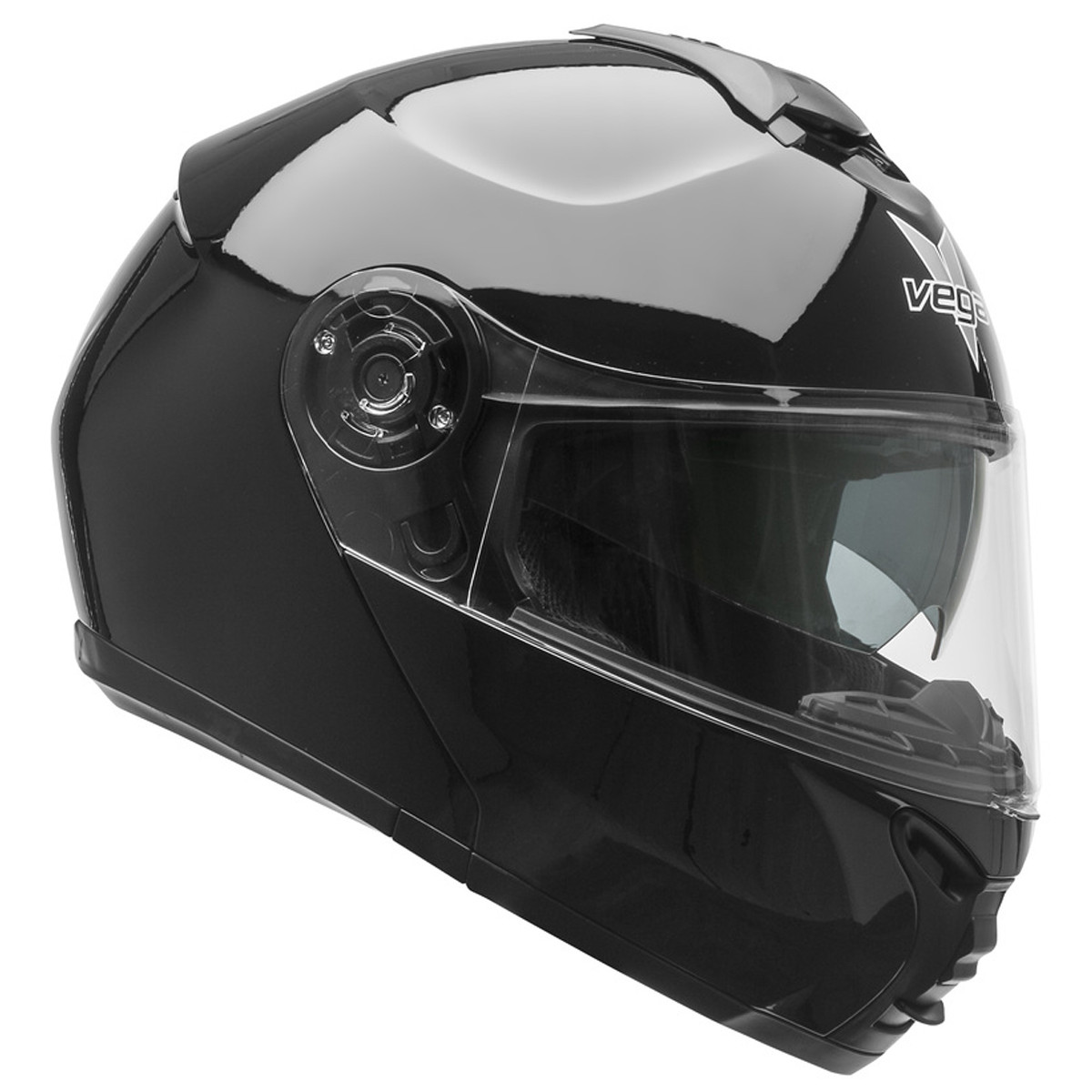 Vega RS1 Gloss Black Full Face Street Helmet Drop Down Sun Visor Shield
