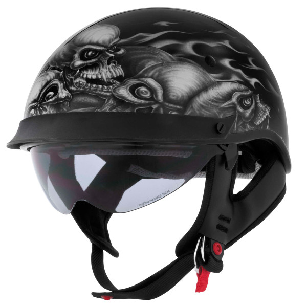 Cyber U-72 Skull Pile Helmet With Internal Sun Shield