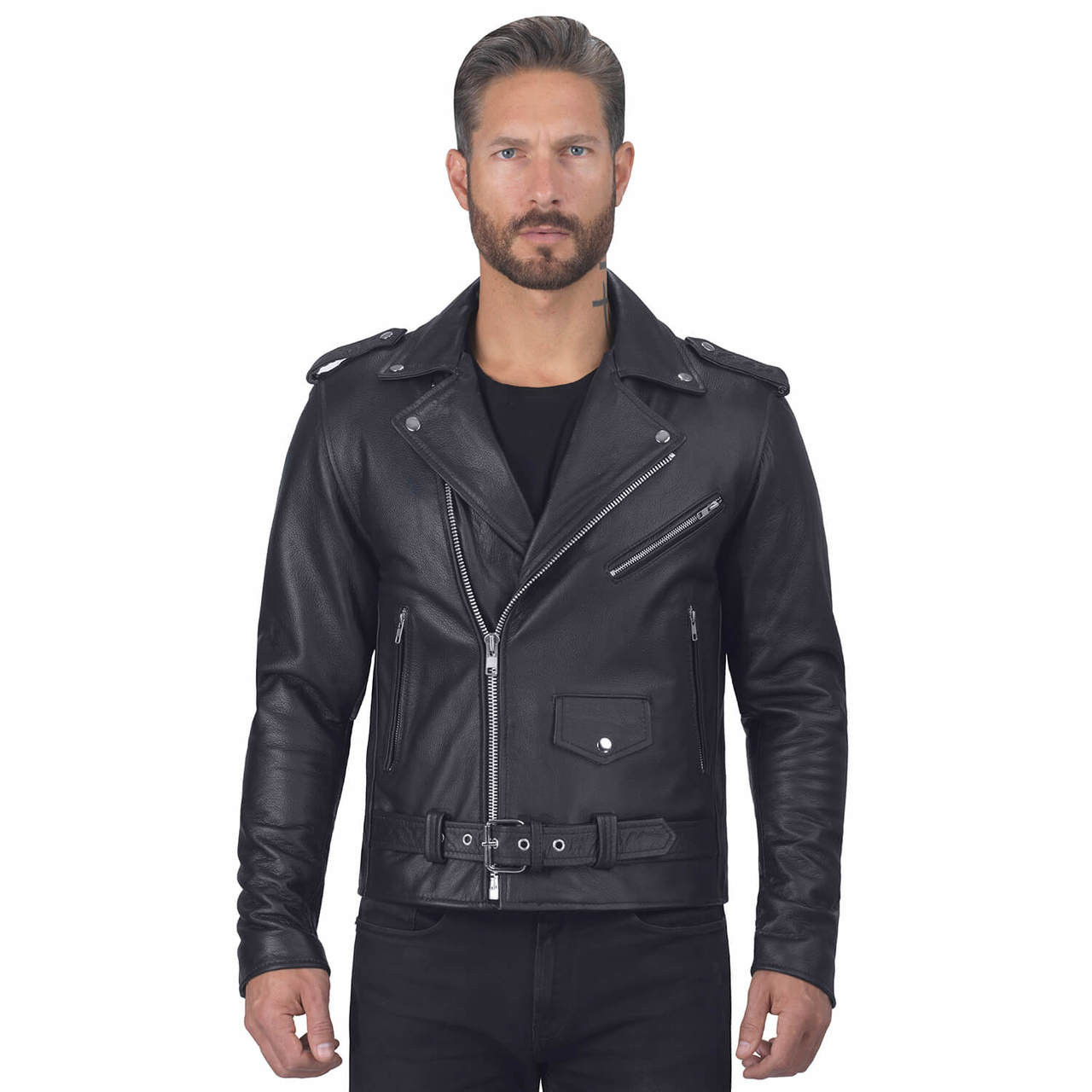 5X-Large Viking Cycle American Eagle Premium Grade Cowhide Leather Motorcycle Jacket for Men