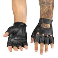 Viking Cycle Men's Premium Leather Half Finger Motorcycle Cruiser Gloves 1