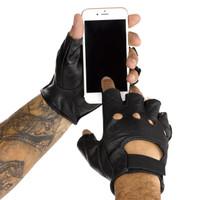 Viking Cycle Men's Premium Leather Half Finger Motorcycle Cruiser Gloves 2