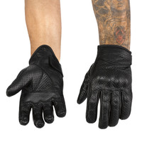 Viking Cycle Men's Premium Leather Perforated Motorcycle Cruiser Gloves 1