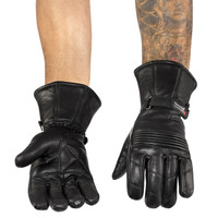 Viking Cycle Men's Premium Leather Gauntlet Motorcycle Cruiser Gloves 1