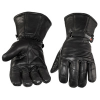 Viking Cycle Men's Premium Leather Gauntlet Motorcycle Cruiser Gloves