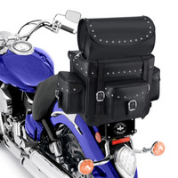 Nomad USA Revival Series Studded Motorcycle Sissy Bar Bag On Bike Zoom View