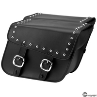 Nomad USA Slanted Studded Leather Medium Motorcycle Saddlebags