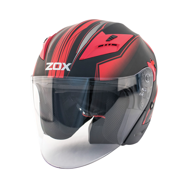 Zox Journey Trip Open Face Helmet Red Main View