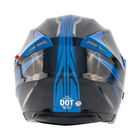 Zox Journey Trip Open Face Helmet Blue Back View