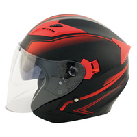 Zox Journey Trip Open Face Helmet Red Side View