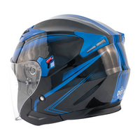 Zox Journey Trip Open Face Helmet Blue Side View