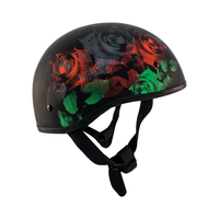 Zox Retro Old School Roses Half Helmet