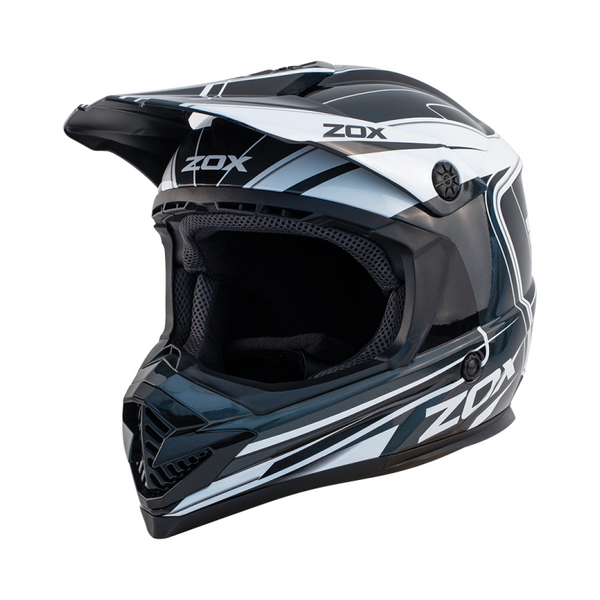 Zox Rush Lucid Off Road Full Face Helmet Silver View