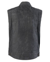Roland Sands Design Men's Ramone Perforated Waxed Cotton Vest Black Back View