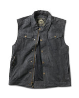 Roland Sands Design Men's Ramone Perforated Waxed Cotton Vest Black Open View