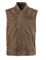 Roland Sands Design Men's Ramone Perforated Waxed Cotton Vest Brown Main View