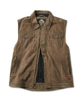 Roland Sands Design Men's Ramone Perforated Waxed Cotton Vest Brown Open View