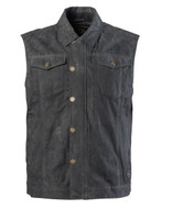 Roland Sands Design Men's Ramone Perforated Waxed Cotton Vest Black Main View