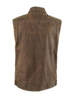 Roland Sands Design Men's Ramone Perforated Waxed Cotton Vest Brown Back View