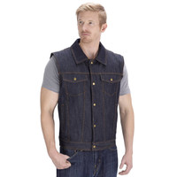 Viking Cycle Freedom Motorcycle Denim Vest Blue Front Side