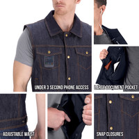 Viking Cycle Freedom Motorcycle Denim Blue Vest All in One