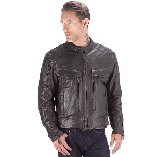 Viking Cycle Skeid Leather Jacket for Men Brown Front Side View