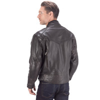 Viking Cycle Skeid Leather Jacket for Men Brown Back Side View