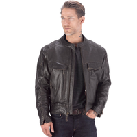 Viking Cycle Skeid Leather Jacket for Men Brown Front Opening View