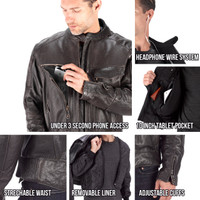 Viking Cycle Skeid Leather Jacket for Men Brown All in One View